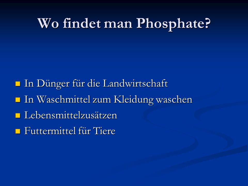 Wo findet man Phosphate? In Dünger für die Landwirtschaft In Dünger für die Landwirtschaft In Waschmittel zum Kleidung waschen In Waschmittel zum Klei