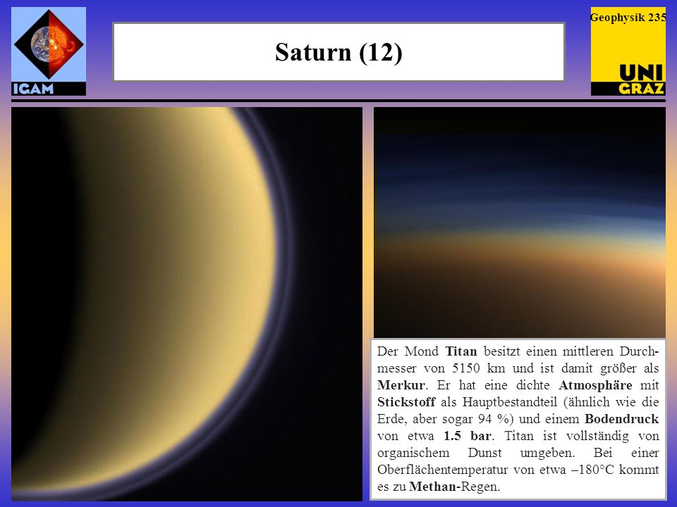 Saturn (12) Geophysik 235 Der Mond Titan besitzt einen mittleren Durch- messer von 5150 km und ist damit größer als Merkur. Er hat eine dichte Atmosph