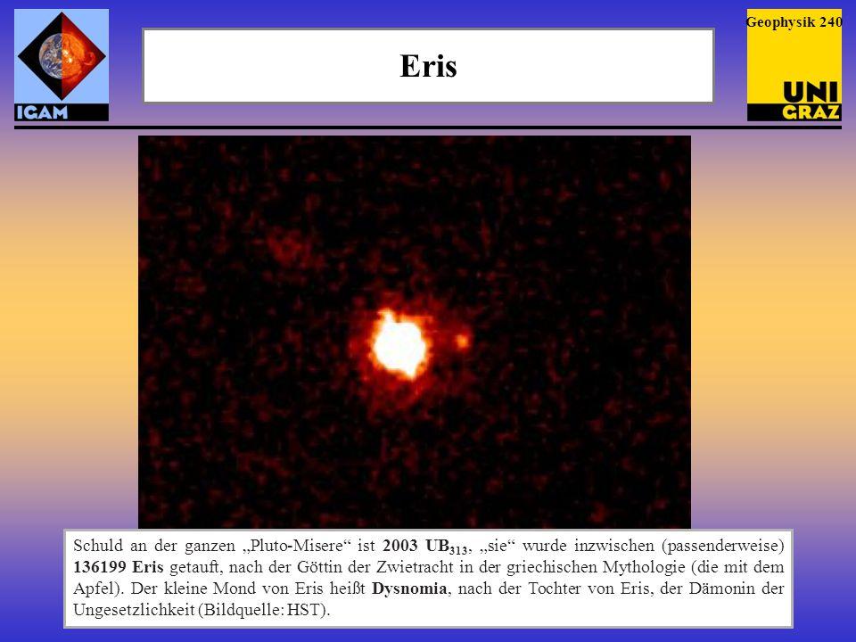 """Eris Geophysik 240 Schuld an der ganzen """"Pluto-Misere"""" ist 2003 UB 313, """"sie"""" wurde inzwischen (passenderweise) 136199 Eris getauft, nach der Göttin d"""
