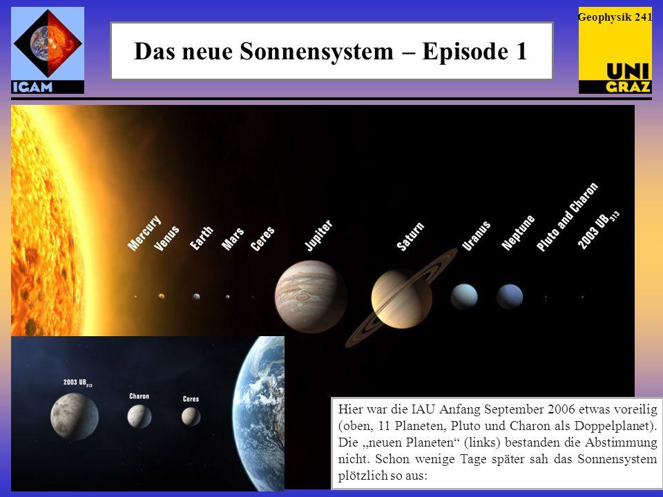 Das neue Sonnensystem – Episode 1 Geophysik 241 Hier war die IAU Anfang September 2006 etwas voreilig (oben, 11 Planeten, Pluto und Charon als Doppelp