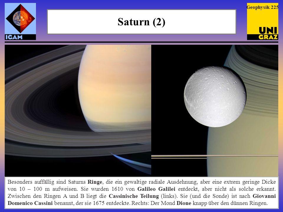 Saturn (3) Geophysik 226 Der Mond Dione über der Ring-Ebene, darüber der Schatten, den die Ringe auf die Wolkendecke des Saturn werfen.