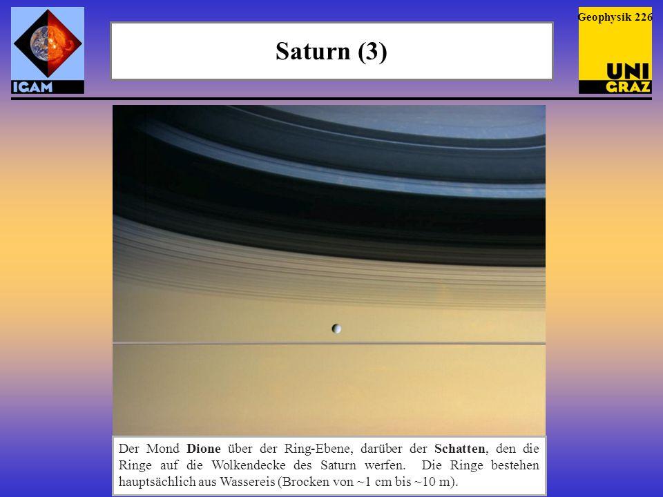 Saturn (3) Geophysik 226 Der Mond Dione über der Ring-Ebene, darüber der Schatten, den die Ringe auf die Wolkendecke des Saturn werfen. Die Ringe best