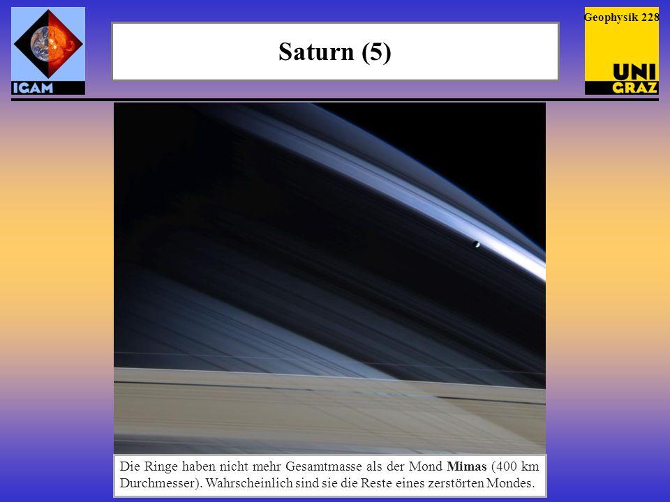 Saturn (6) Geophysik 229 Saturns Ringsystem ist in sieben Haupt- ringe aufgeteilt.