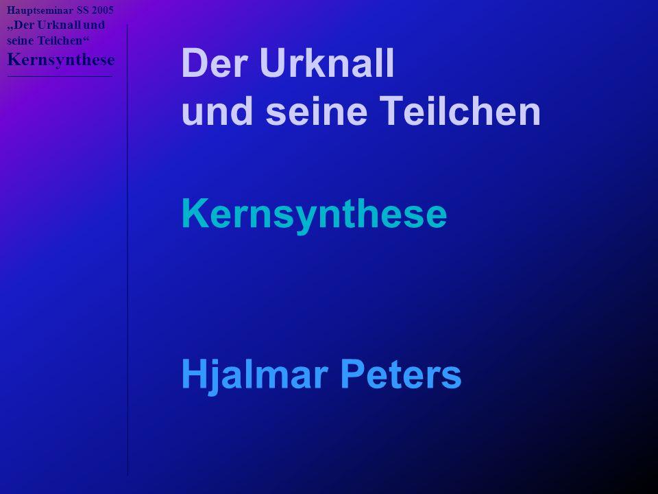 """Hauptseminar SS 2005 """"Der Urknall und seine Teilchen Kernsynthese n → p p + n → d d + p → 3 He d + d → 3 He + n d + d → t + p t + d → 4 He + n t +  → 7 Li 3 He + n → t + p 3 He +  → 7 Be 7 Be + n → 7 Li + p Die 12 fundamentalen Reaktionen 3 He + d → 4 He + p 7 Li + p → 4 He +  N Z n 10,6 min 1 H 2 H 3 H 12,3 a 3 He 4 He 6 He 808ms 8 He 122 ms 6 Li 7 Li 8 Li 842 ms 9 Li 178 ms 7 Be 53,3 d 9 Be 10 Be 1,6·10 6 a 11 Be 13,8 s 8 B 770 ms 10 B 11 B 12 B 20,3 ms 9 C 127 ms 10 C 19,3 s 11 C 20,3 min 12 C 13 C 0 1 2 3 4 5 6 7 A=5 A=8 N Z n 10,6 min 1 H 2 H 3 H 12,3 a 3 He 4 He 6 He 808ms 8 He 122 ms 6 Li 7 Li 8 Li 842 ms 9 Li 178 ms 7 Be 53,3 d 9 Be 10 Be 1,6·10 6 a 11 Be 13,8 s 8 B 770 ms 10 B 11 B 12 B 20,3 ms 9 C 127 ms 10 C 19,3 s 11 C 20,3 min 12 C 13 C 0 1 2 3 4 5 6 7 I."""