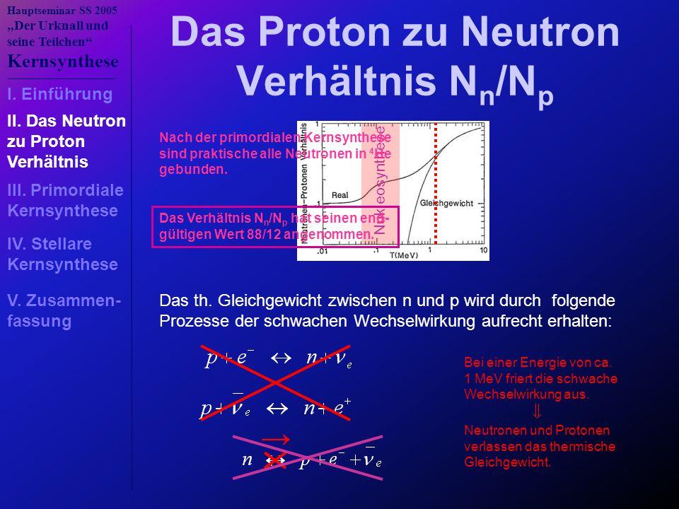 """Hauptseminar SS 2005 """"Der Urknall und seine Teilchen"""" Kernsynthese Das Proton zu Neutron Verhältnis N n /N p Das th. Gleichgewicht zwischen n und p wi"""