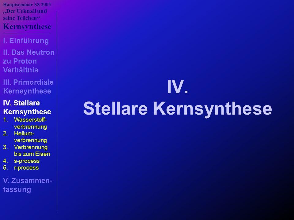 """Hauptseminar SS 2005 """"Der Urknall und seine Teilchen"""" Kernsynthese IV. Stellare Kernsynthese 1.Wasserstoff- verbrennung 2.Helium- verbrennung 3.Verbre"""