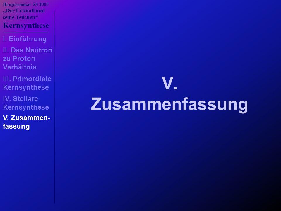 """Hauptseminar SS 2005 """"Der Urknall und seine Teilchen"""" Kernsynthese V. Zusammenfassung I. Einführung III. Primordiale Kernsynthese IV. Stellare Kernsyn"""