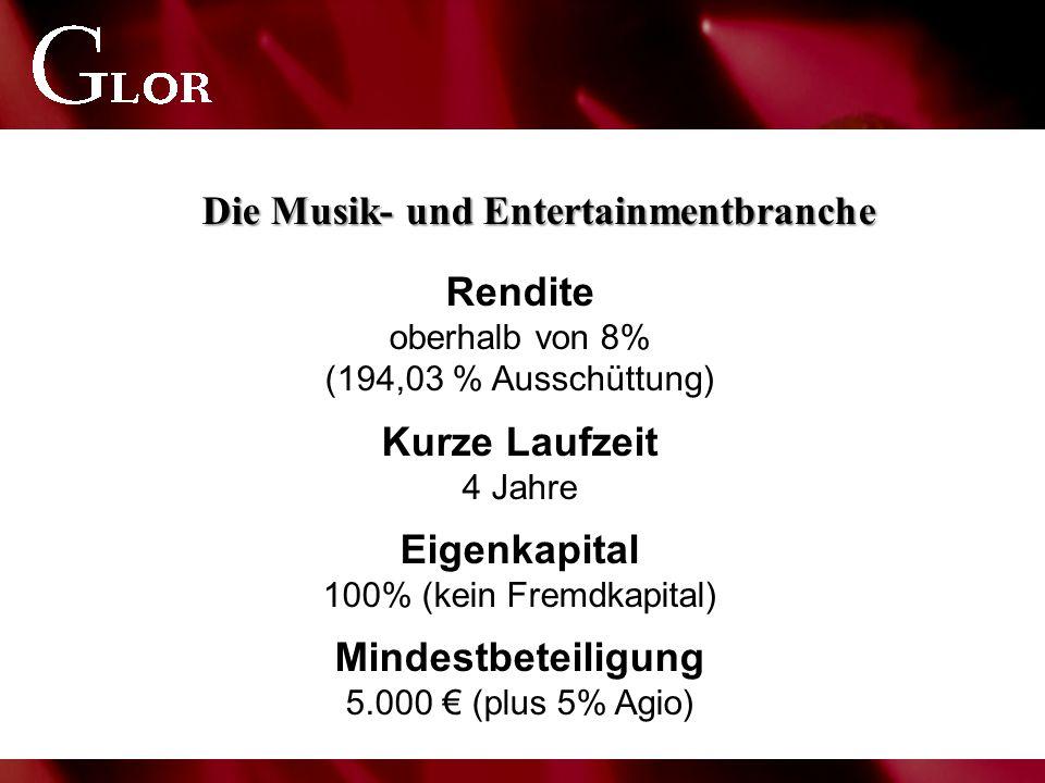 Rendite oberhalb von 8% (194,03 % Ausschüttung) Kurze Laufzeit 4 Jahre Eigenkapital 100% (kein Fremdkapital) Mindestbeteiligung 5.000 € (plus 5% Agio) Die Musik- und Entertainmentbranche