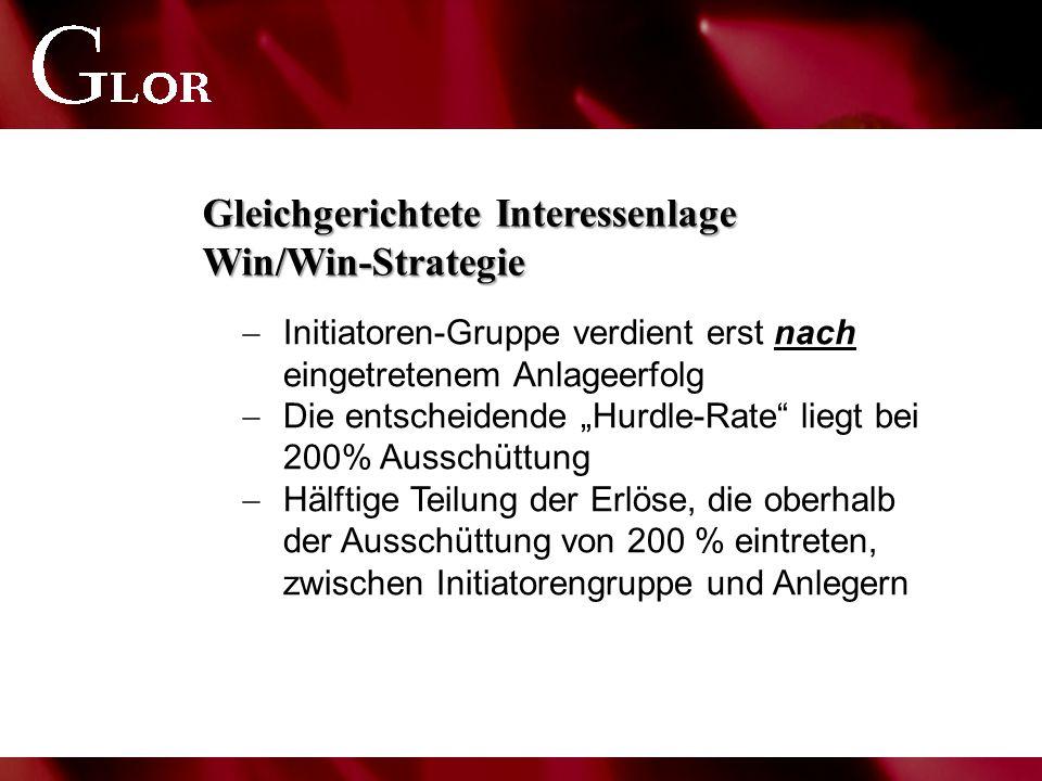 """Gleichgerichtete Interessenlage Win/Win-Strategie  Initiatoren-Gruppe verdient erst nach eingetretenem Anlageerfolg  Die entscheidende """"Hurdle-Rate liegt bei 200% Ausschüttung  Hälftige Teilung der Erlöse, die oberhalb der Ausschüttung von 200 % eintreten, zwischen Initiatorengruppe und Anlegern"""