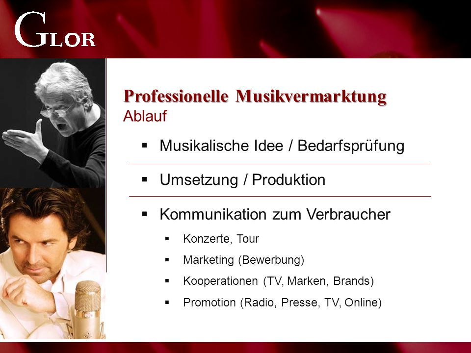Professionelle Musikvermarktung Professionelle Musikvermarktung Ablauf  Musikalische Idee / Bedarfsprüfung  Umsetzung / Produktion  Kommunikation zum Verbraucher  Konzerte, Tour  Marketing (Bewerbung)  Kooperationen (TV, Marken, Brands)  Promotion (Radio, Presse, TV, Online)