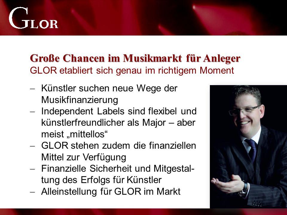 Große Chancen im Musikmarkt für Anleger Große Chancen im Musikmarkt für Anleger GLOR etabliert sich genau im richtigem Moment  Künstler suchen neue W