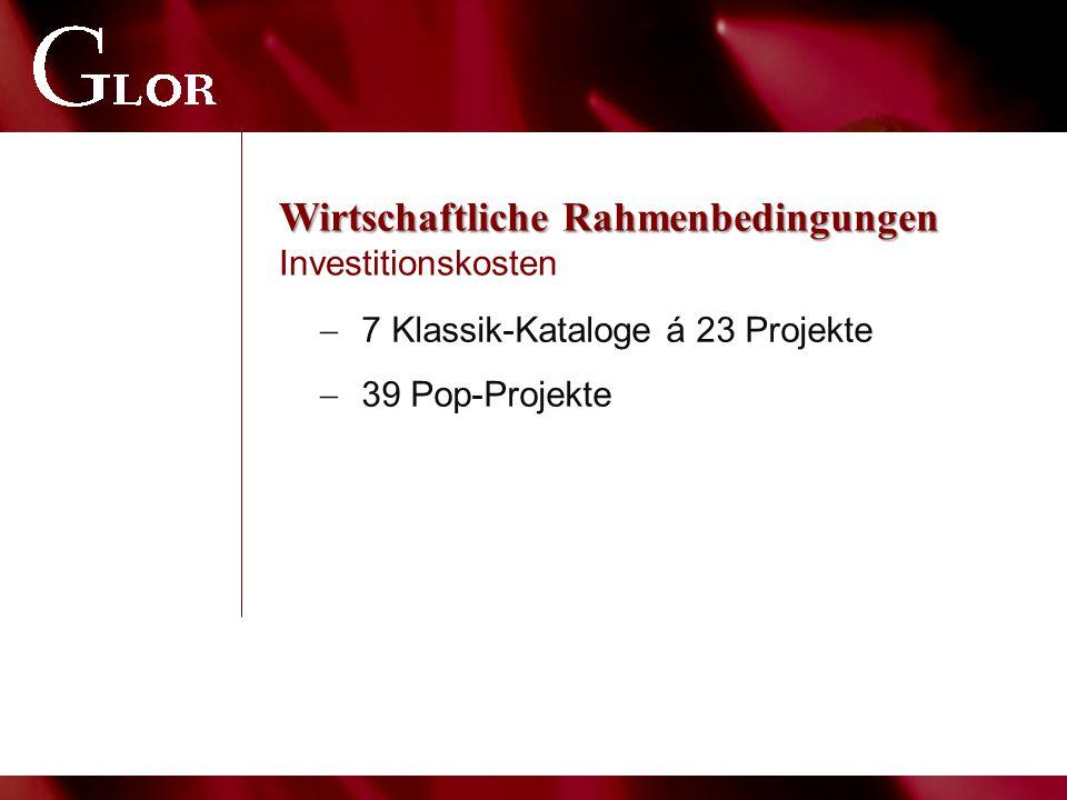 Wirtschaftliche Rahmenbedingungen Wirtschaftliche Rahmenbedingungen Investitionskosten  7 Klassik-Kataloge á 23 Projekte  39 Pop-Projekte