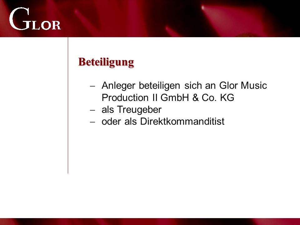 Beteiligung  Anleger beteiligen sich an Glor Music Production II GmbH & Co. KG  als Treugeber  oder als Direktkommanditist