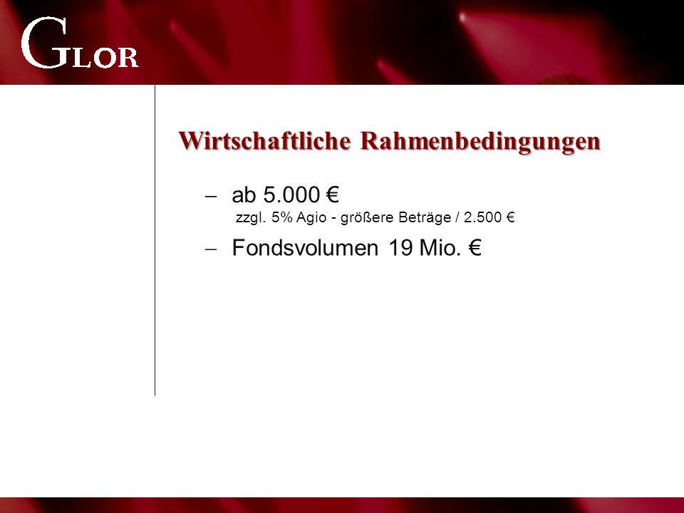Wirtschaftliche Rahmenbedingungen  ab 5.000 € zzgl. 5% Agio - größere Beträge / 2.500 €  Fondsvolumen 19 Mio. €