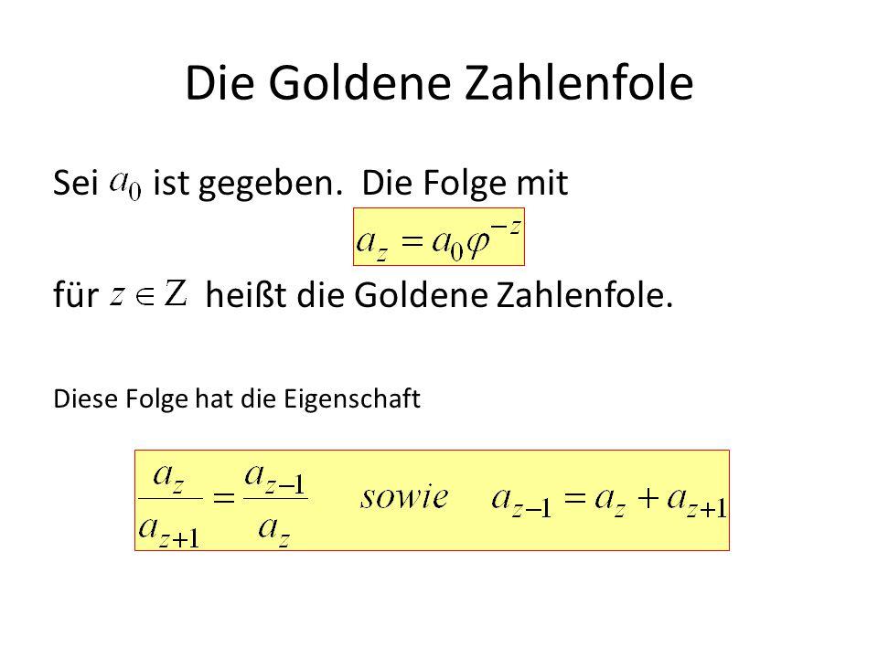 Die Goldene Zahlenfole Sei ist gegeben. Die Folge mit für heißt die Goldene Zahlenfole. Diese Folge hat die Eigenschaft