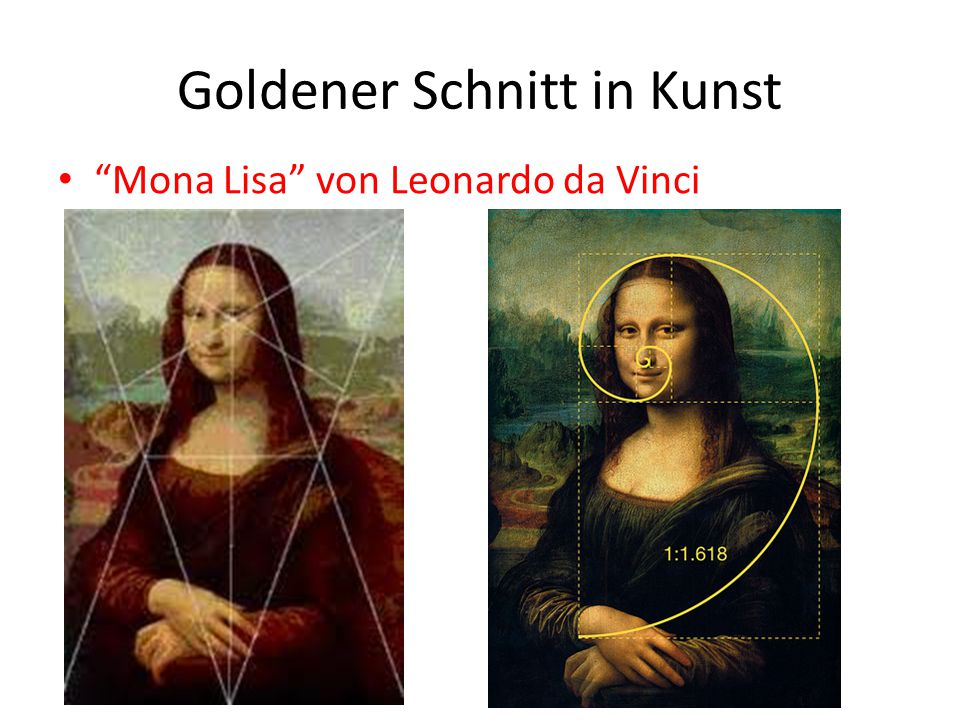 """Goldener Schnitt in Kunst """"Mona Lisa"""" von Leonardo da Vinci"""