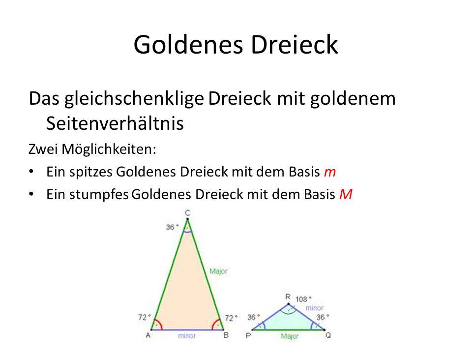 Goldenes Dreieck Das gleichschenklige Dreieck mit goldenem Seitenverhältnis Zwei Möglichkeiten: Ein spitzes Goldenes Dreieck mit dem Basis m Ein stump