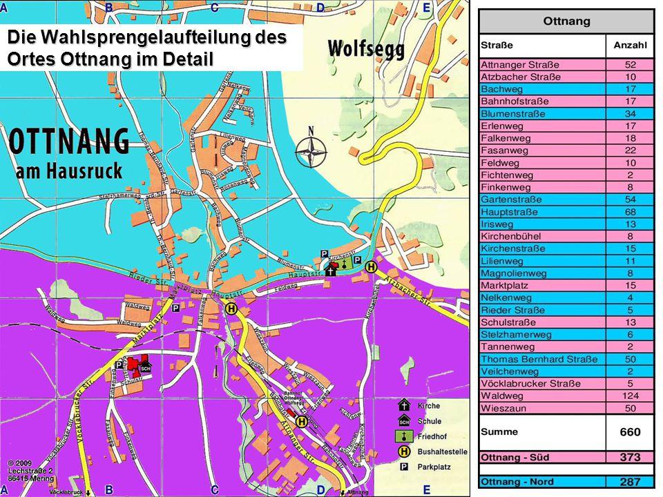 Die Wahlsprengelaufteilung des Ortes Ottnang im Detail