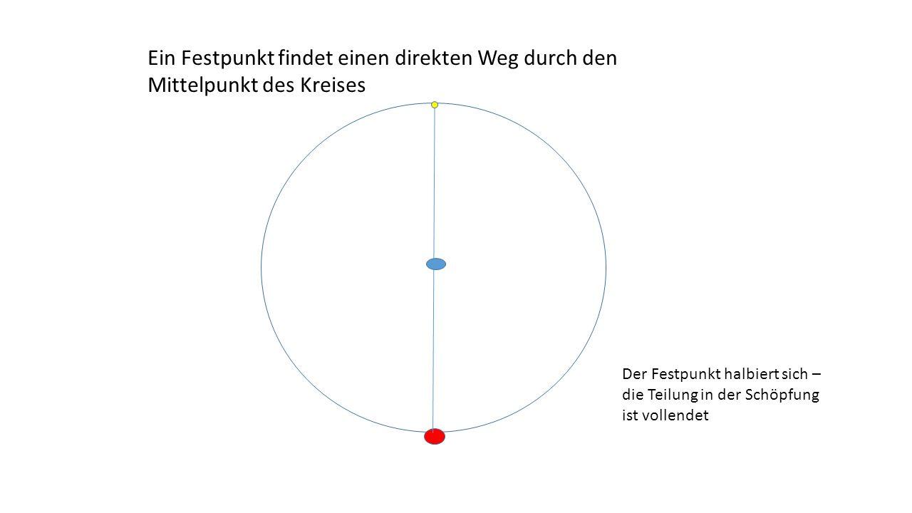 Ein Festpunkt findet einen direkten Weg durch den Mittelpunkt des Kreises Der Festpunkt halbiert sich – die Teilung in der Schöpfung ist vollendet