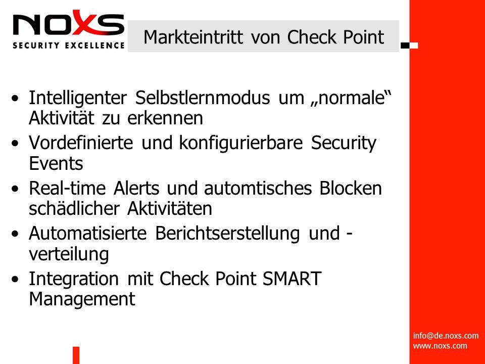 """Intelligenter Selbstlernmodus um """"normale Aktivität zu erkennen Vordefinierte und konfigurierbare Security Events Real-time Alerts und automtisches Blocken schädlicher Aktivitäten Automatisierte Berichtserstellung und - verteilung Integration mit Check Point SMART Management"""