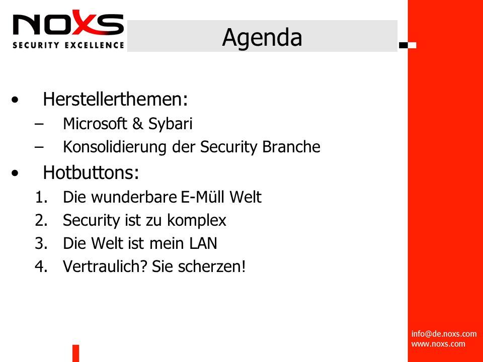 Agenda Herstellerthemen: –Microsoft & Sybari –Konsolidierung der Security Branche Hotbuttons: 1.Die wunderbare E-Müll Welt 2.Security ist zu komplex 3.Die Welt ist mein LAN 4.Vertraulich.