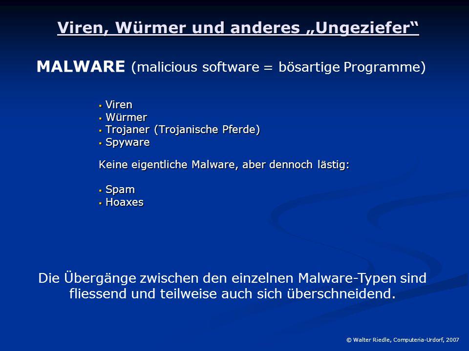 """Viren, Würmer und anderes """"Ungeziefer""""  Viren  Würmer  Trojaner (Trojanische Pferde)  Spyware Keine eigentliche Malware, aber dennoch lästig:  Sp"""
