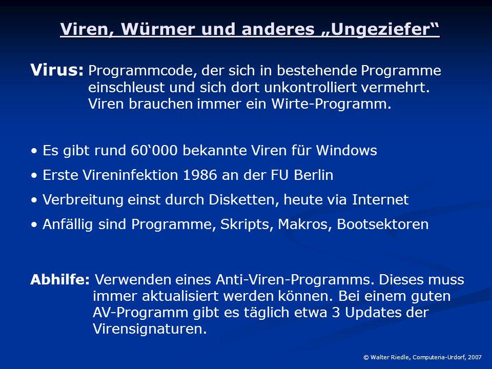 """Viren, Würmer und anderes """"Ungeziefer"""" Virus: Programmcode, der sich in bestehende Programme einschleust und sich dort unkontrolliert vermehrt. Viren"""