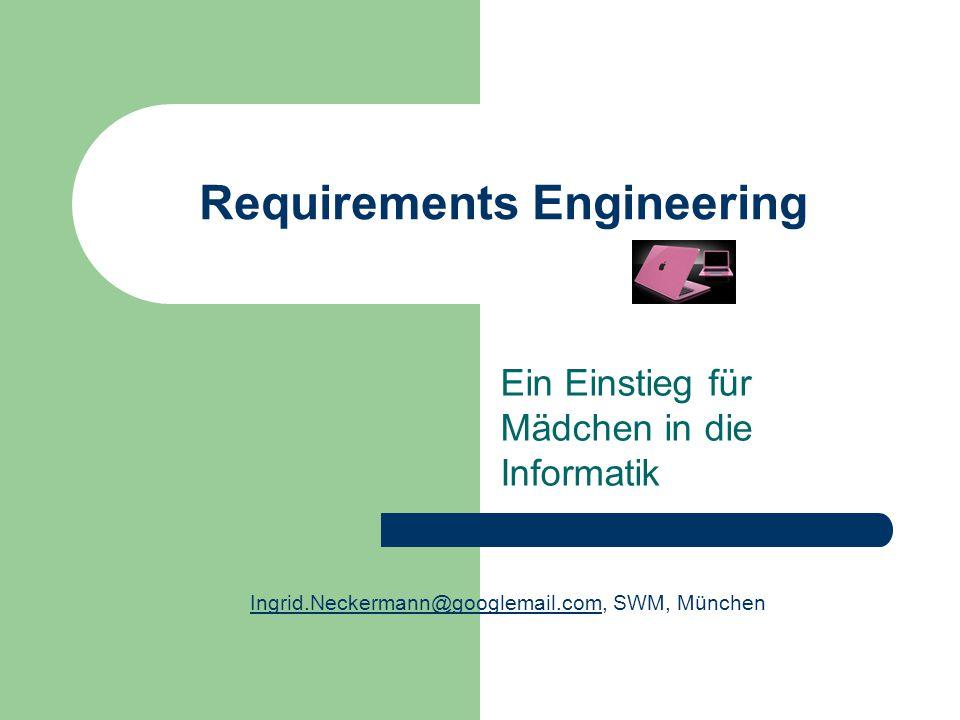 Requirements Engineering Ein Einstieg für Mädchen in die Informatik Ingrid.Neckermann@googlemail.comIngrid.Neckermann@googlemail.com, SWM, München