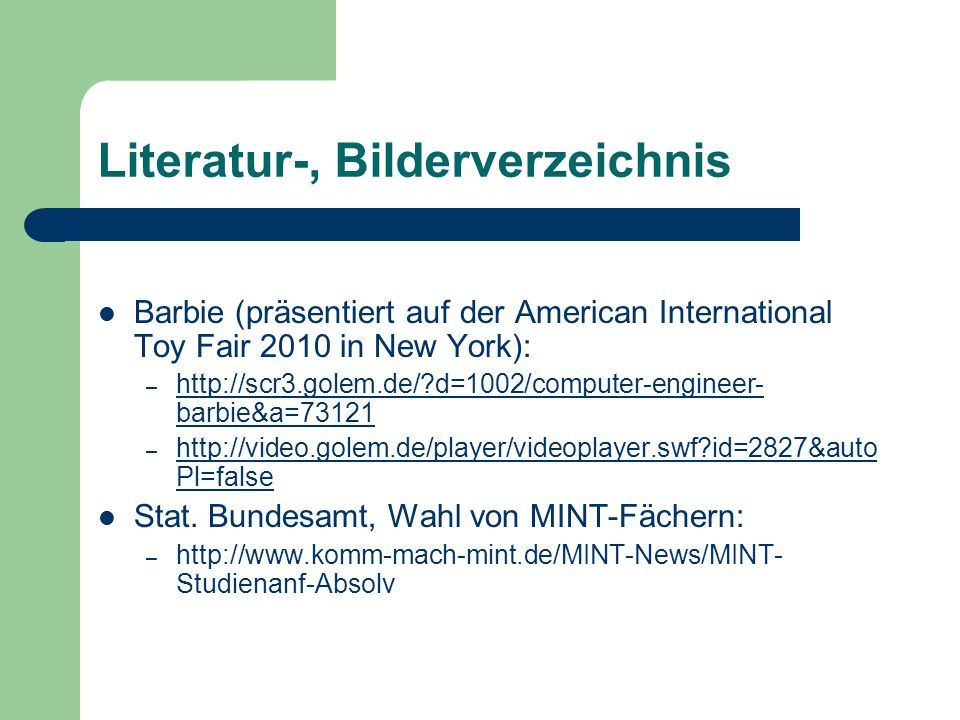 Literatur-, Bilderverzeichnis Barbie (präsentiert auf der American International Toy Fair 2010 in New York): – http://scr3.golem.de/?d=1002/computer-e