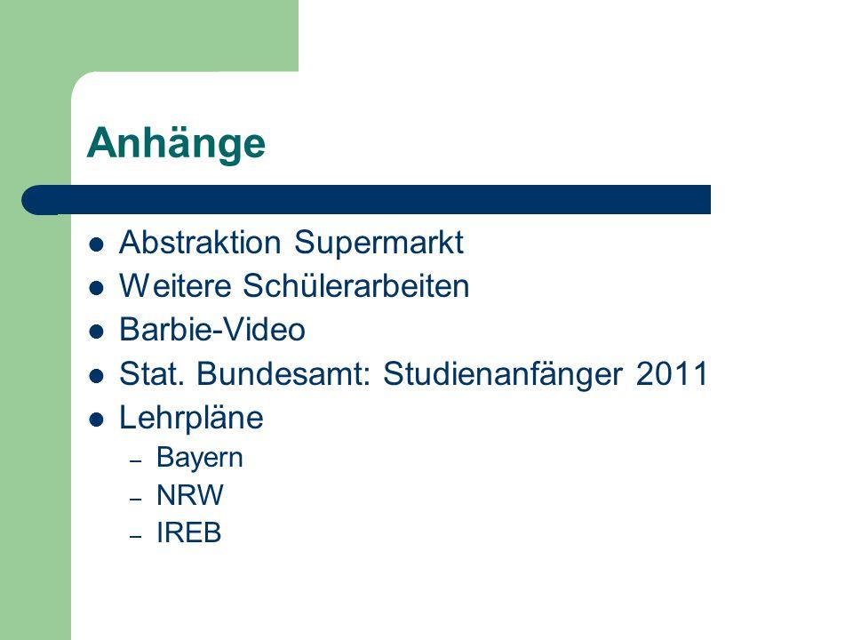 Anhänge Abstraktion Supermarkt Weitere Schülerarbeiten Barbie-Video Stat. Bundesamt: Studienanfänger 2011 Lehrpläne – Bayern – NRW – IREB