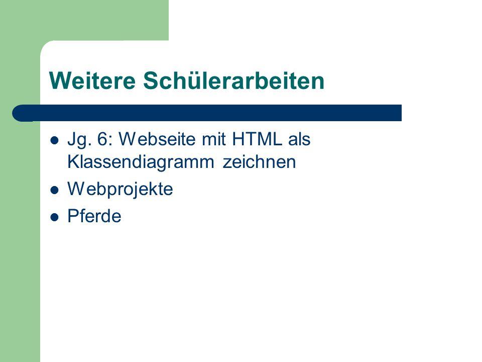 Weitere Schülerarbeiten Jg. 6: Webseite mit HTML als Klassendiagramm zeichnen Webprojekte Pferde
