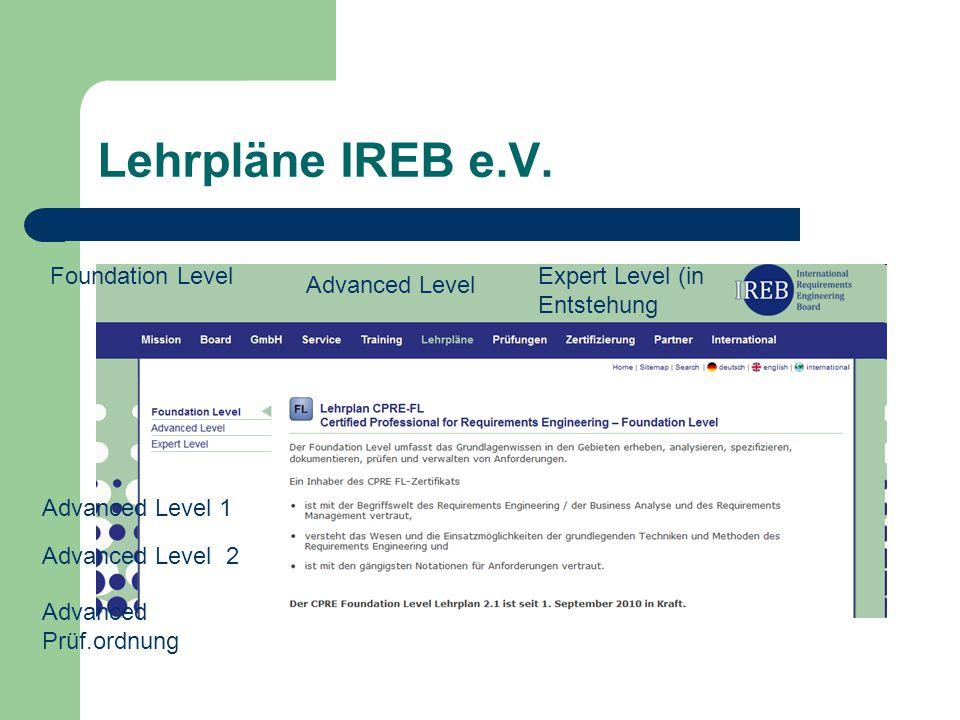 Lehrpläne IREB e.V. Foundation Level Advanced Level 1 Expert Level (in Entstehung Advanced Level 2 Advanced Level Advanced Prüf.ordnung