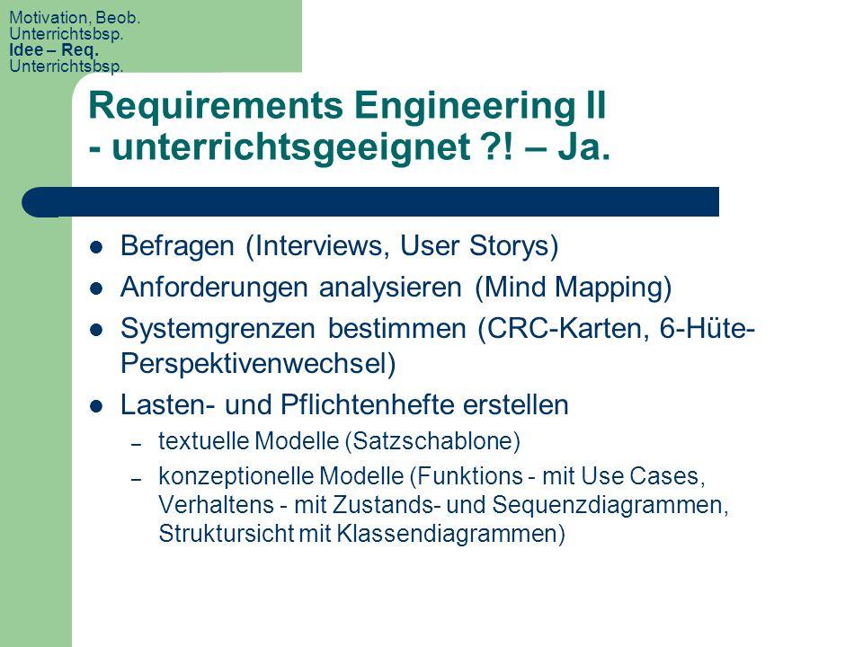 Requirements Engineering II - unterrichtsgeeignet ?! – Ja. Befragen (Interviews, User Storys) Anforderungen analysieren (Mind Mapping) Systemgrenzen b