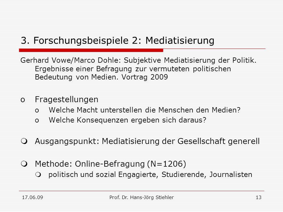 17.06.09Prof. Dr. Hans-Jörg Stiehler13 3. Forschungsbeispiele 2: Mediatisierung Gerhard Vowe/Marco Dohle: Subjektive Mediatisierung der Politik. Ergeb