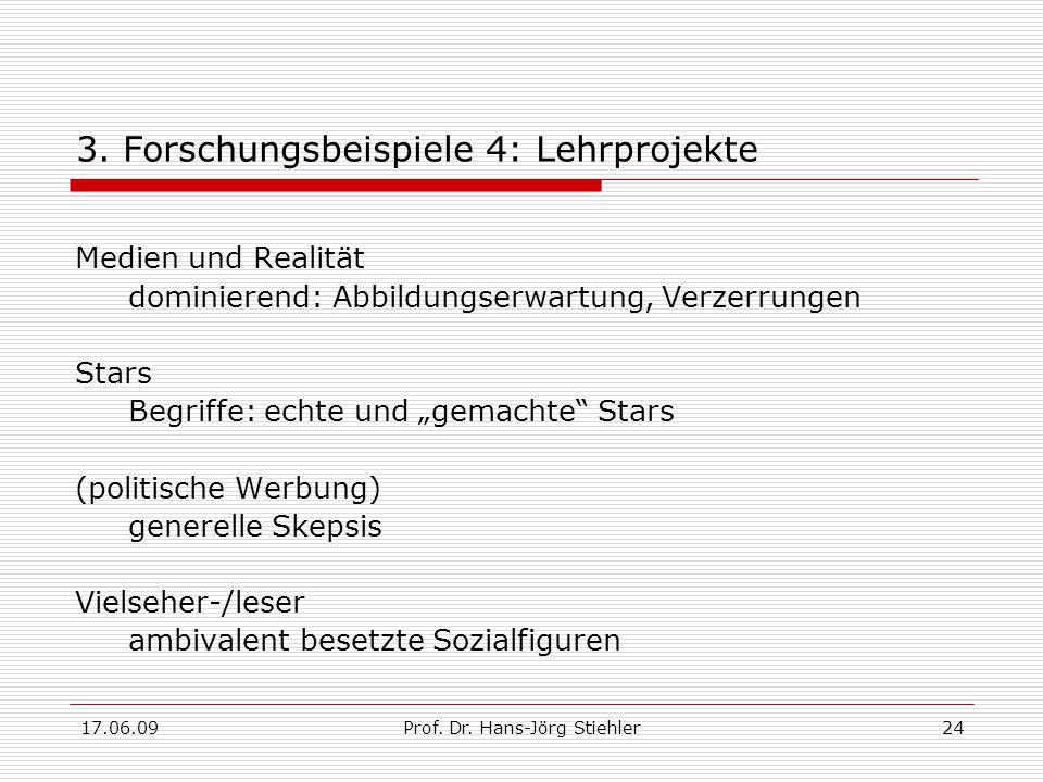 17.06.09Prof. Dr. Hans-Jörg Stiehler24 3. Forschungsbeispiele 4: Lehrprojekte Medien und Realität dominierend: Abbildungserwartung, Verzerrungen Stars