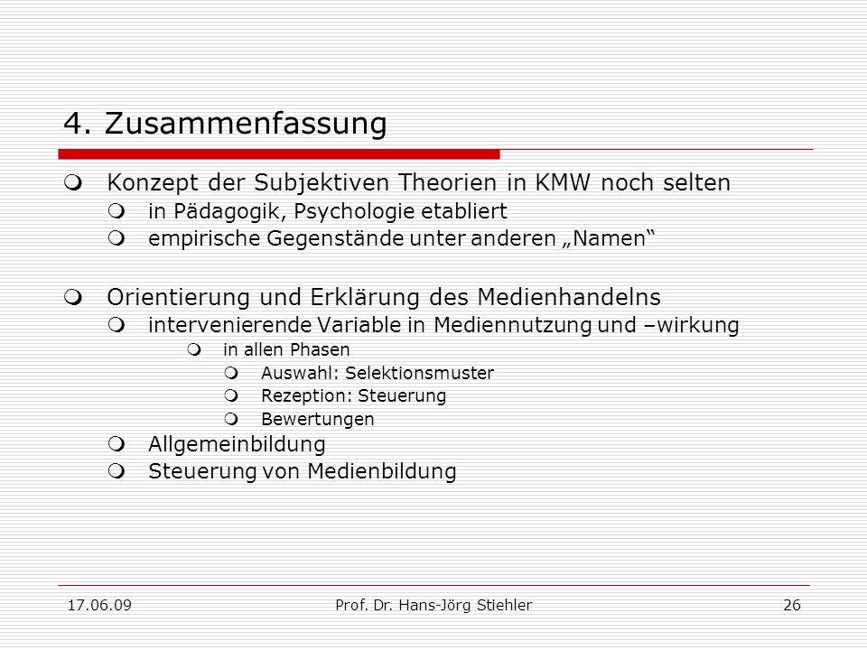 17.06.09Prof. Dr. Hans-Jörg Stiehler26 4. Zusammenfassung  Konzept der Subjektiven Theorien in KMW noch selten  in Pädagogik, Psychologie etabliert