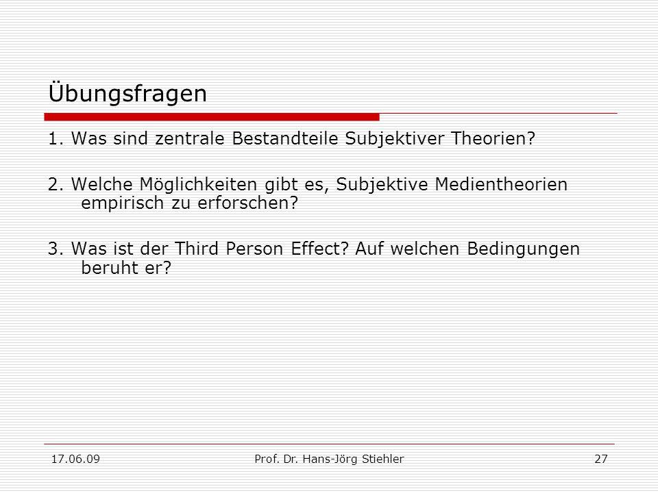 17.06.09Prof. Dr. Hans-Jörg Stiehler27 Übungsfragen 1. Was sind zentrale Bestandteile Subjektiver Theorien? 2. Welche Möglichkeiten gibt es, Subjektiv