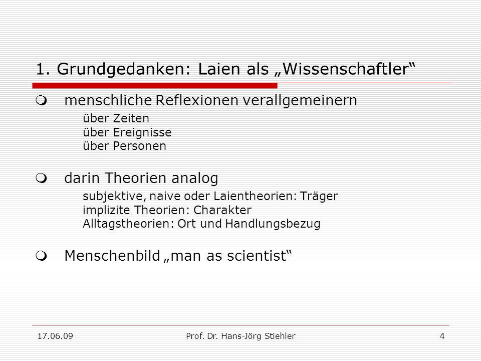 """17.06.09Prof. Dr. Hans-Jörg Stiehler4 1. Grundgedanken: Laien als """"Wissenschaftler""""  menschliche Reflexionen verallgemeinern über Zeiten über Ereigni"""