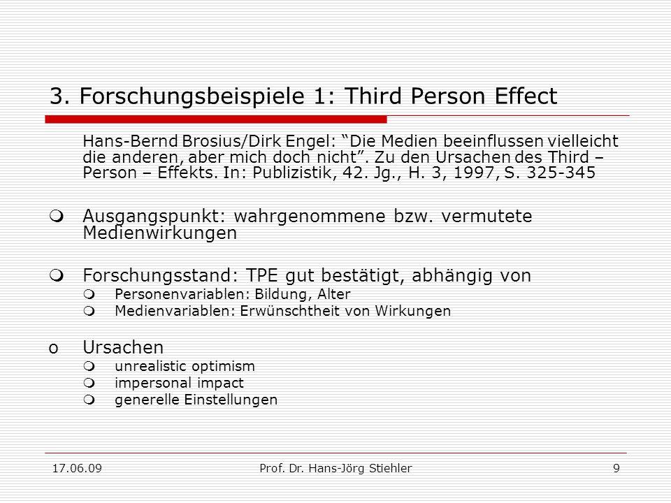 """17.06.09Prof. Dr. Hans-Jörg Stiehler9 3. Forschungsbeispiele 1: Third Person Effect Hans-Bernd Brosius/Dirk Engel: """"Die Medien beeinflussen vielleicht"""