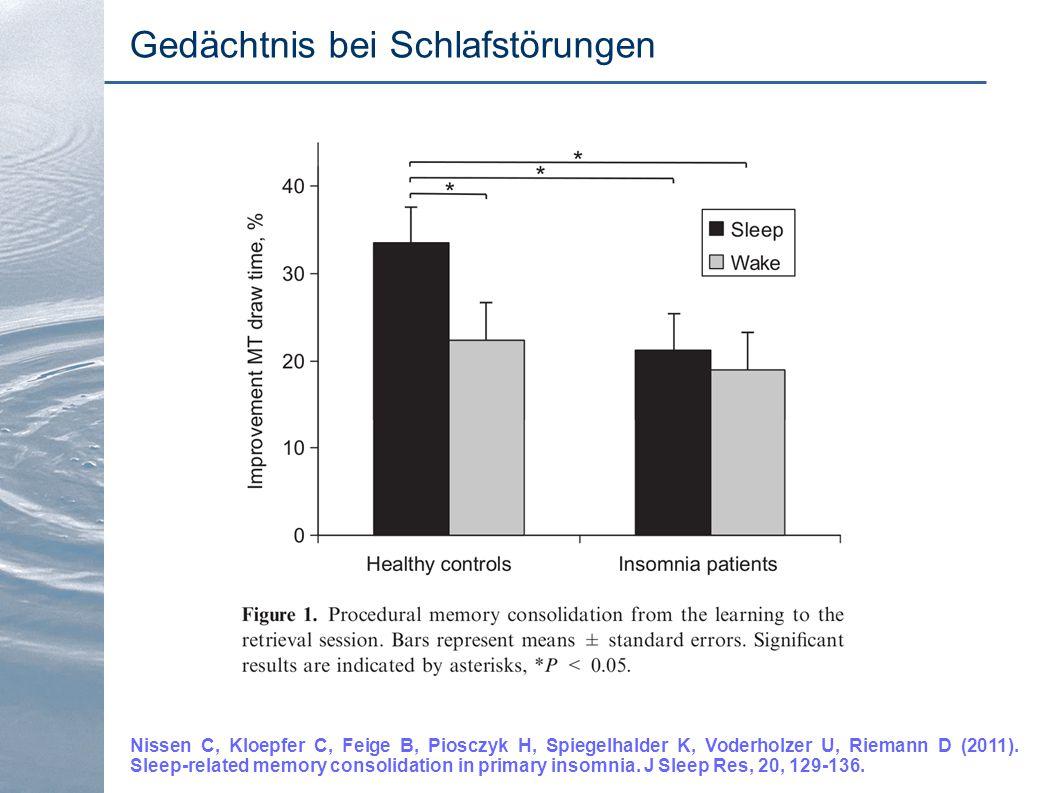 Gedächtnis bei Schlafstörungen Nissen C, Kloepfer C, Feige B, Piosczyk H, Spiegelhalder K, Voderholzer U, Riemann D (2011). Sleep-related memory conso