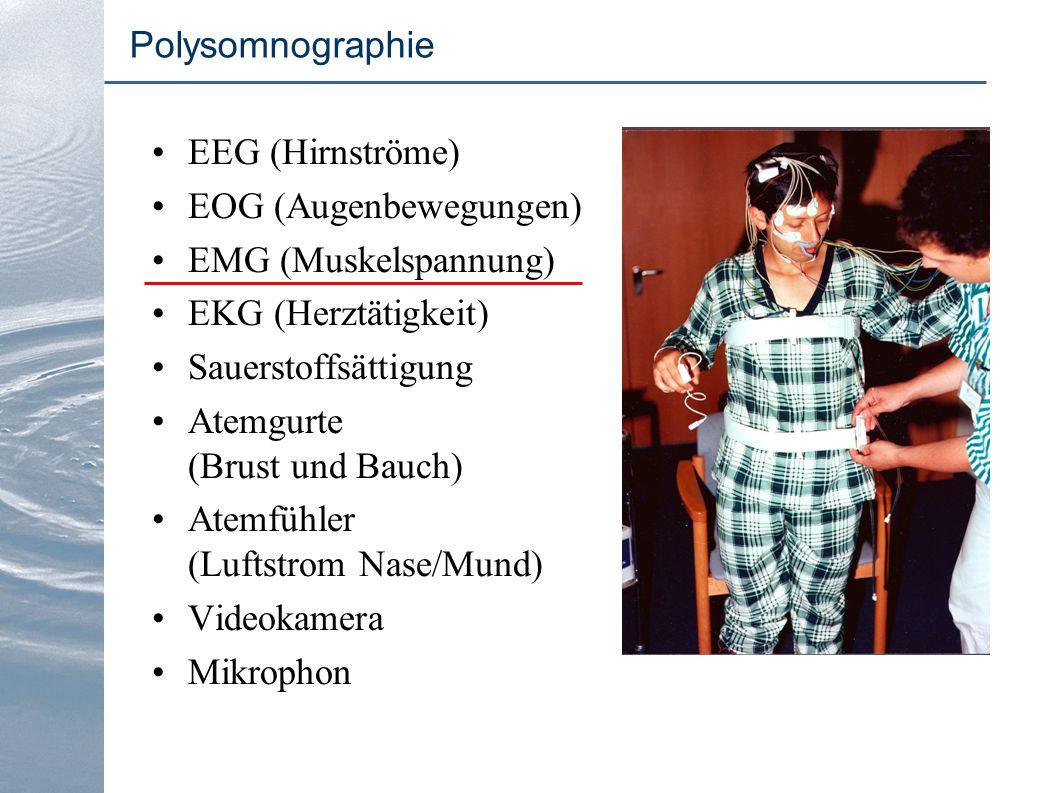 EEG (Hirnströme) EOG (Augenbewegungen) EMG (Muskelspannung) EKG (Herztätigkeit) Sauerstoffsättigung Atemgurte (Brust und Bauch) Atemfühler (Luftstrom