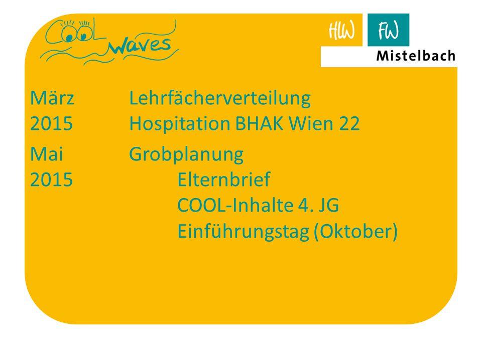 März 2015 Lehrfächerverteilung Hospitation BHAK Wien 22 Mai 2015 Grobplanung Elternbrief COOL-Inhalte 4. JG Einführungstag (Oktober)