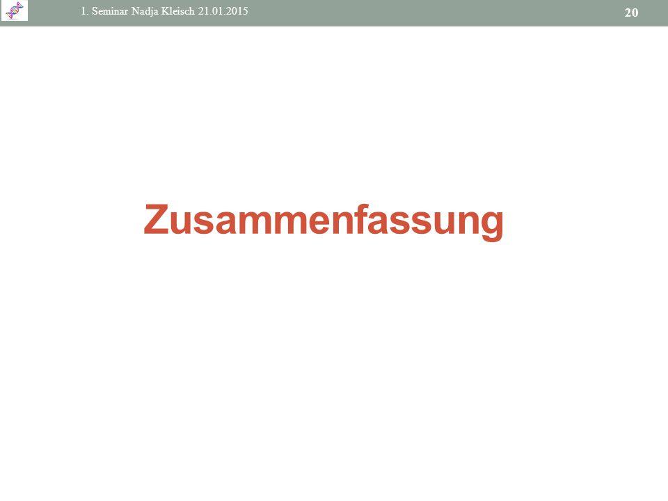 1. Seminar Nadja Kleisch 21.01.2015 20 Zusammenfassung