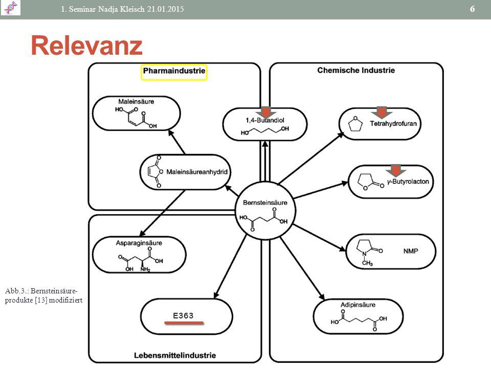 Relevanz 1. Seminar Nadja Kleisch 21.01.2015 6 Abb.3.: Bernsteinsäure- produkte [13] modifiziert E363