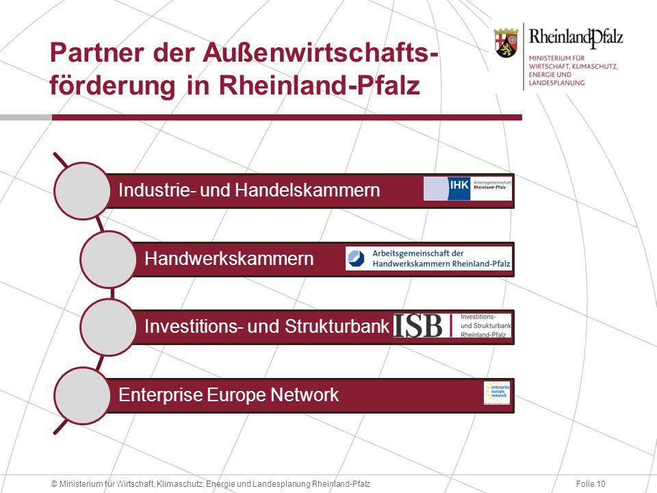 Folie 10© Ministerium für Wirtschaft, Klimaschutz, Energie und Landesplanung Rheinland-Pfalz Partner der Außenwirtschafts- förderung in Rheinland-Pfal