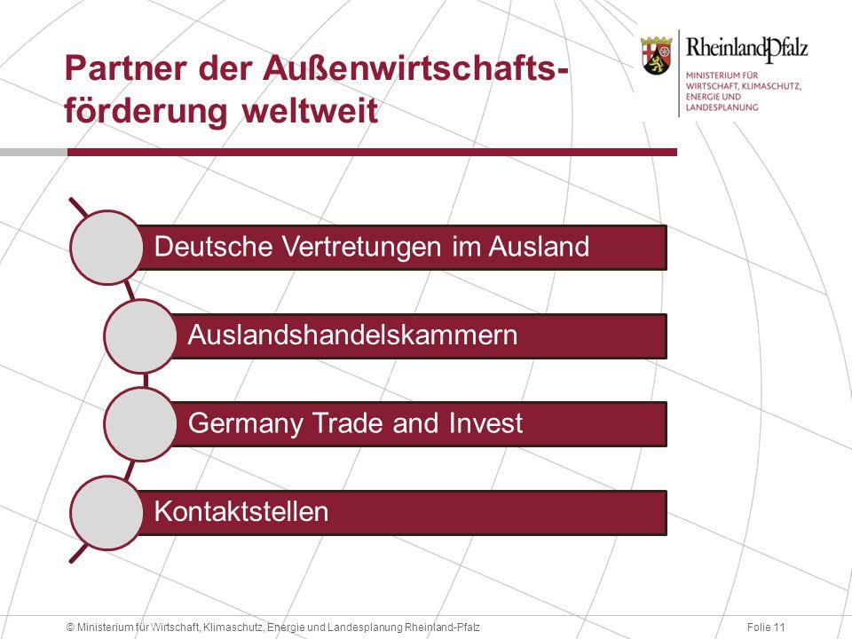 Folie 11© Ministerium für Wirtschaft, Klimaschutz, Energie und Landesplanung Rheinland-Pfalz Partner der Außenwirtschafts- förderung weltweit Deutsche