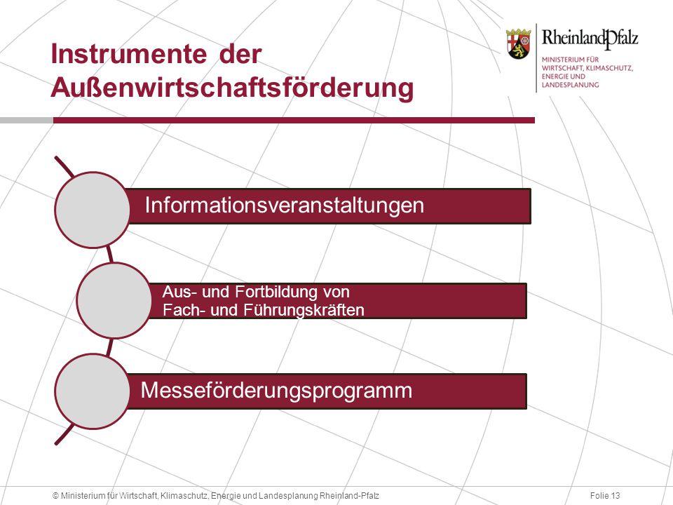 Folie 13© Ministerium für Wirtschaft, Klimaschutz, Energie und Landesplanung Rheinland-Pfalz Instrumente der Außenwirtschaftsförderung Informationsveranstaltungen Aus- und Fortbildung von Fach- und Führungskräften Messeförderungsprogramm