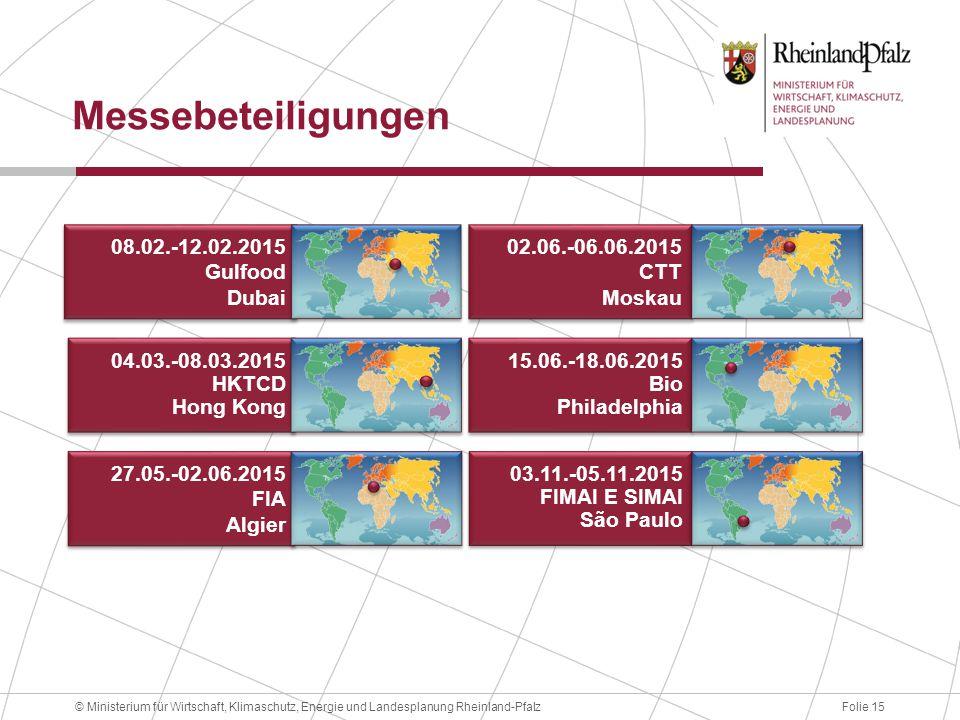 Folie 15© Ministerium für Wirtschaft, Klimaschutz, Energie und Landesplanung Rheinland-Pfalz Messebeteiligungen 08.02.-12.02.2015 Gulfood Dubai 08.02.