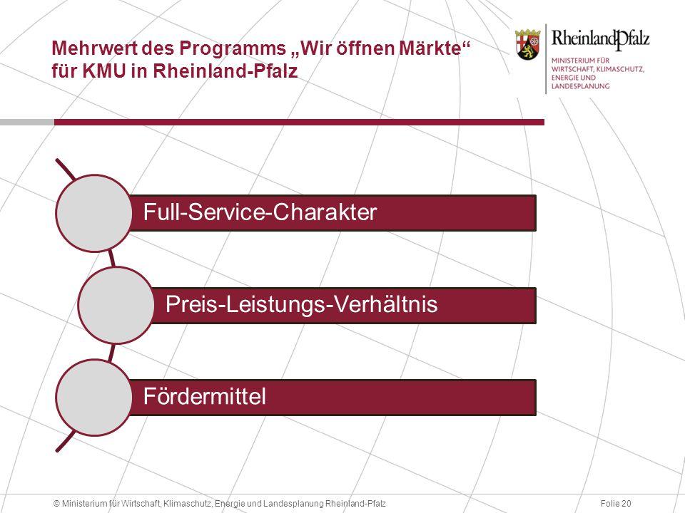 """Folie 20© Ministerium für Wirtschaft, Klimaschutz, Energie und Landesplanung Rheinland-Pfalz Mehrwert des Programms """"Wir öffnen Märkte"""" für KMU in Rhe"""