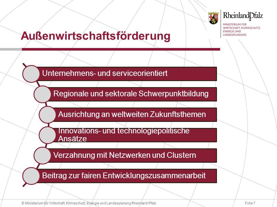 Folie 7© Ministerium für Wirtschaft, Klimaschutz, Energie und Landesplanung Rheinland-Pfalz Außenwirtschaftsförderung Unternehmens- und serviceorienti